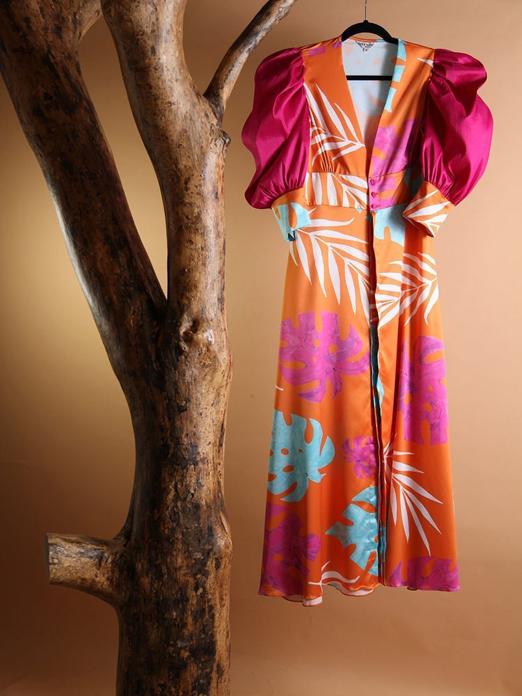 DRESS - Origami Tropical Print Dress with Puff Sleeves - Size|8-Zuly Niño-Default-Shirlanka-Wynwood-Miami