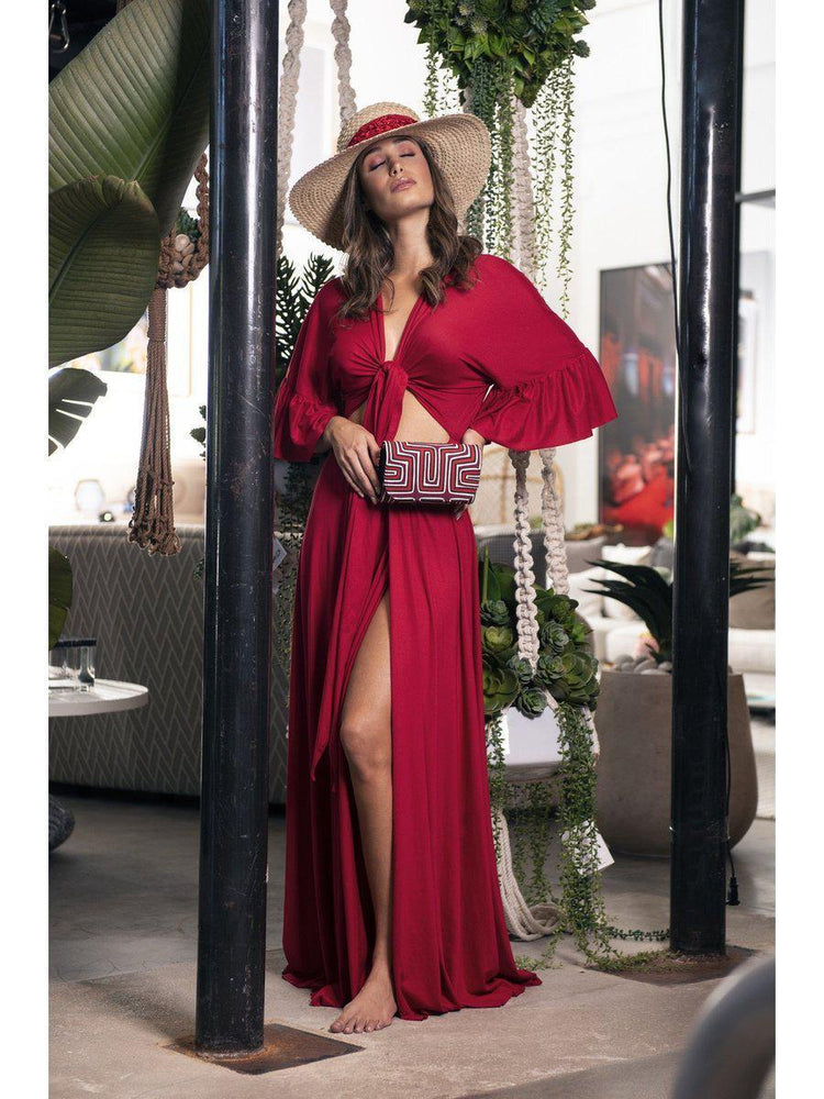 DRESS - Red Wrap front and lace back - Size|M-Vaiva-Default-Shirlanka-Wynwood-Miami