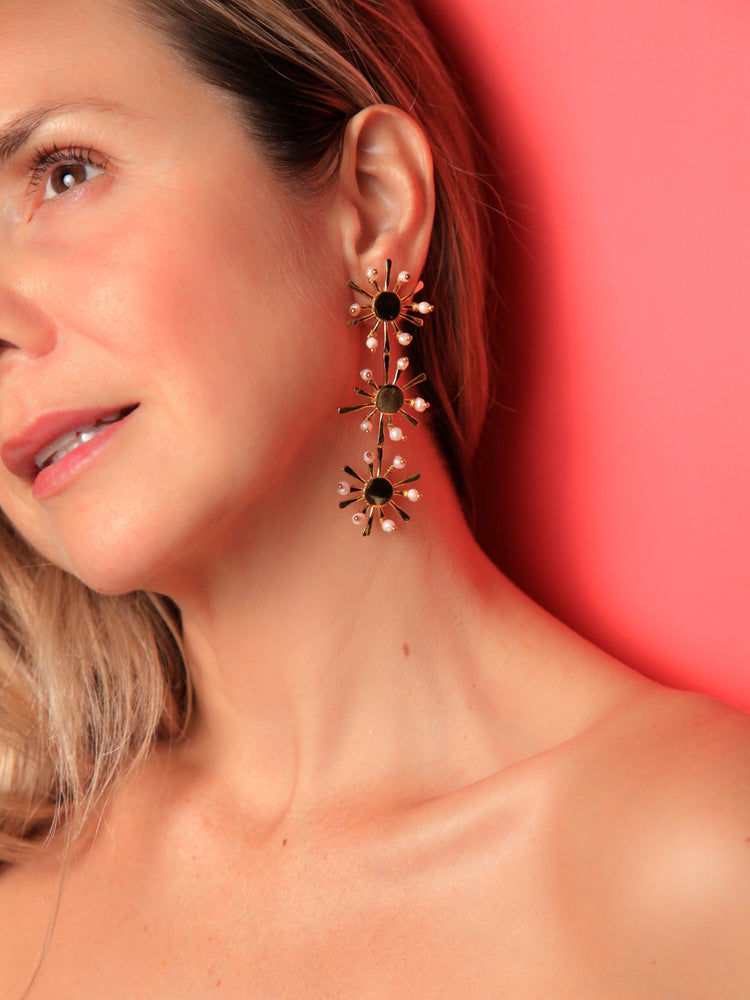 Load image into Gallery viewer, EARRINGS - Sunshine Trio Gold Plated-Crisobela-Default-Shirlanka-Wynwood-Miami