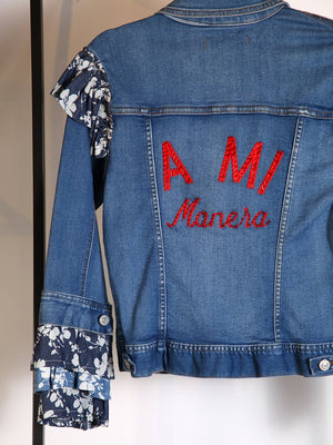 "JACKET - Debbie Denim "" A MI MANERA "" in Red with Ruffles - Size M-Amodo Mio-Default-Shirlanka-Wynwood-Miami"