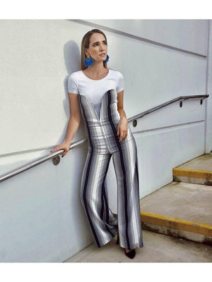 JUMPSUIT - Karen Strapless white and Navy Stripped-Emerging Designers-Shirlanka-Wynwood-Miami