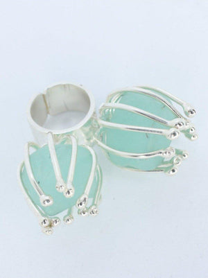 RING - Silver with Two Turquoise Stones-Juliana Estrada-Default-Shirlanka-Wynwood-Miami
