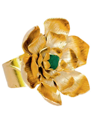 RING - Lotto Flower with Emerald Gold-Tantra-Default-Shirlanka-Wynwood-Miami