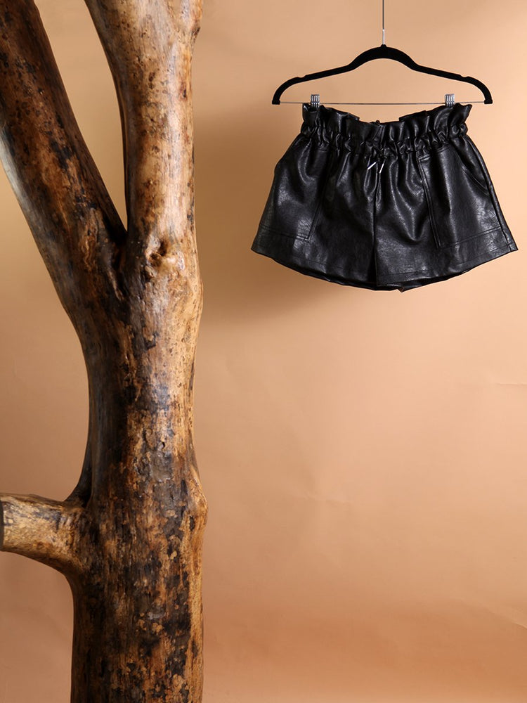 SHORTS - Synthetic Leather Shorts-COMME USA-L-Shirlanka-Wynwood-Miami