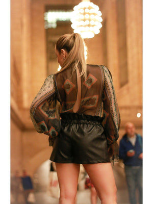 SHORTS - Synthetic Leather Shorts-COMME USA-Shirlanka-Wynwood-Miami