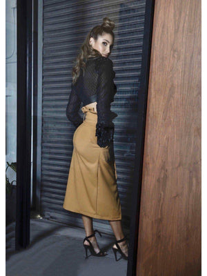 SKIRT - Mustard wrapped with buttons - Size|10-PADOVA-Default-Shirlanka-Wynwood-Miami