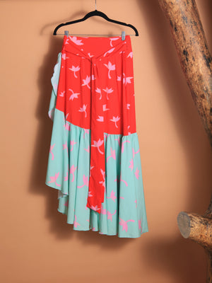 SKIRT - Bicolor Red & Turquoise - Size|M-Mar A Mar-Default-Shirlanka-Wynwood-Miami