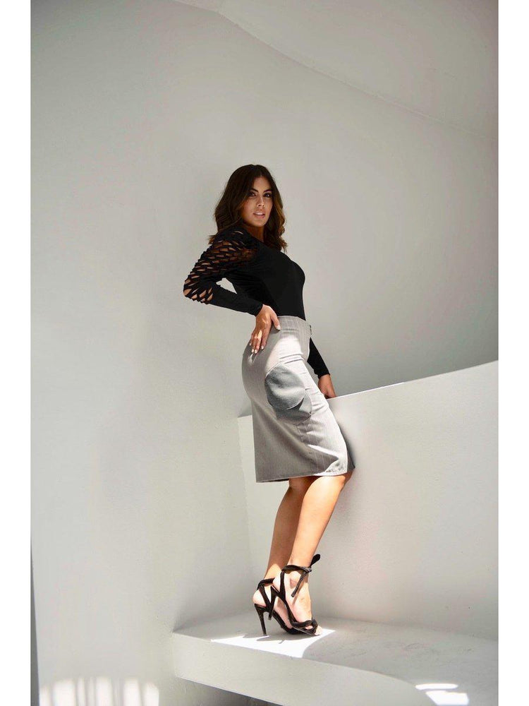 SKIRT - Pasadena Knee Length Grey - Size 8-Bendita Seas-Default-Shirlanka-Wynwood-Miami