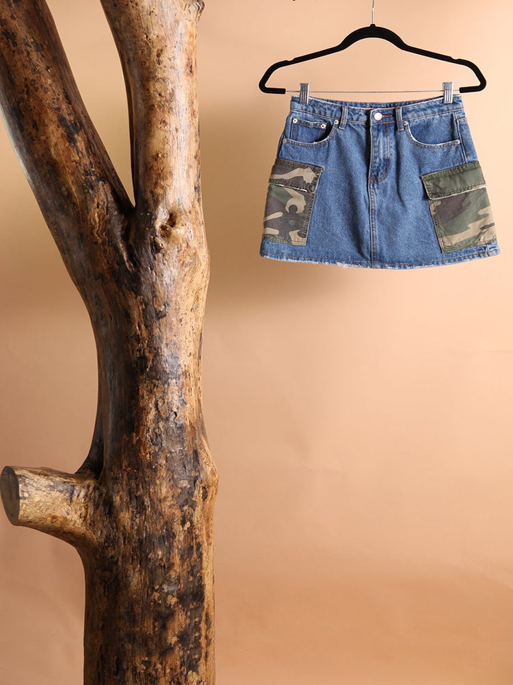 Load image into Gallery viewer, SKIRT - Denim with Camo Pockets-Signature8-S-Shirlanka-Wynwood-Miami