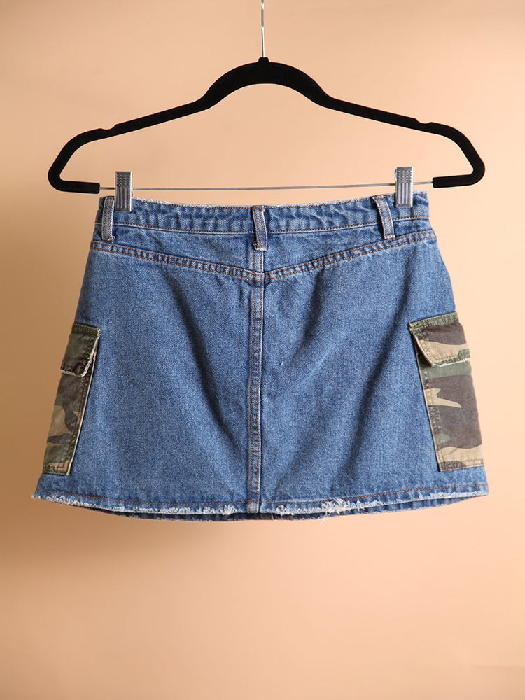Load image into Gallery viewer, SKIRT - Denim with Camo Pockets-Signature8-Shirlanka-Wynwood-Miami