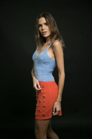 SKIRT - Roxie Orange Eyelet Mini-Emerging Designers-Shirlanka-Wynwood-Miami
