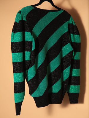 Load image into Gallery viewer, SWEATER / TOP - Ale Striped Green & Black - Size S-Iorane-Default-Shirlanka-Wynwood-Miami