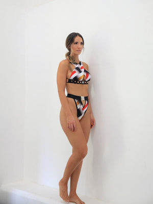 SET - Swimsuit - Print Yellow Lines with Red - Size M-La Tucha-Default-Shirlanka-Wynwood-Miami
