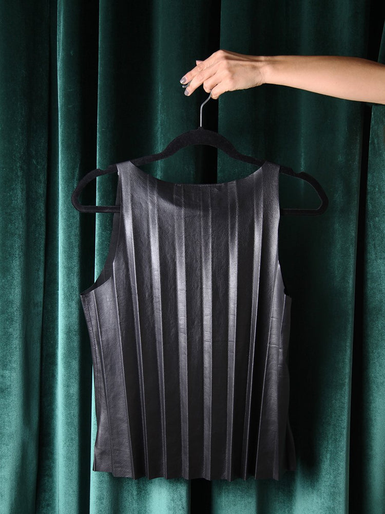 Load image into Gallery viewer, T-SHIRT - Caspian Black Leather Pleated - Size S-Andrea Landa-Default-Shirlanka-Wynwood-Miami