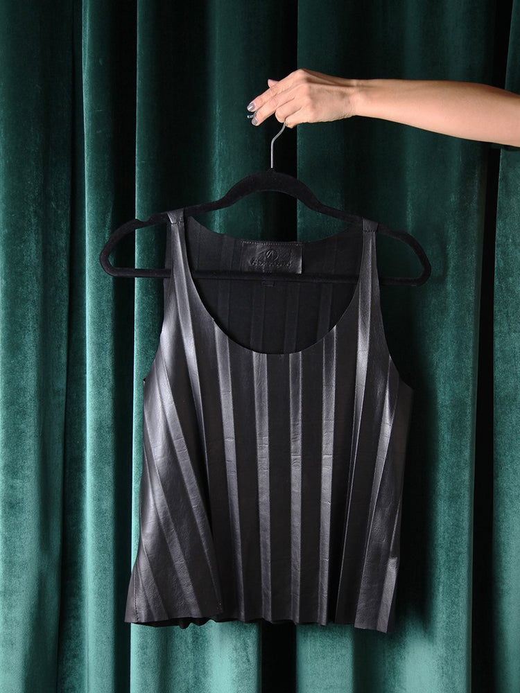 T-SHIRT - Caspian Black Leather Pleated - Size S-Andrea Landa-Default-Shirlanka-Wynwood-Miami