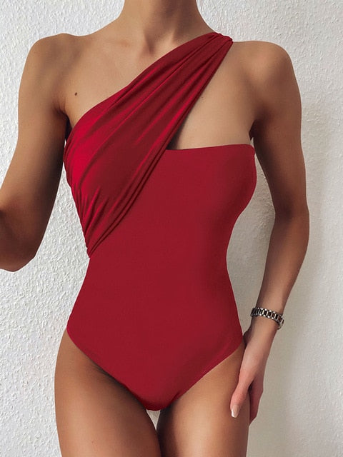 High Cut Hollow Out One Piece Swimwear