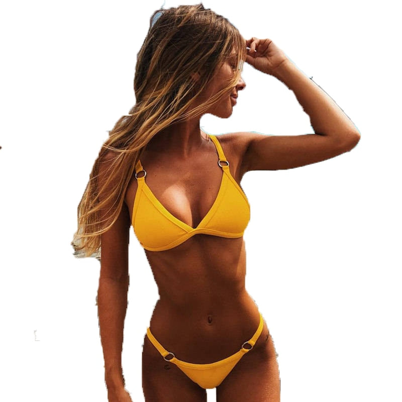 Sexy Solid Low Waist Brazilian Bathing Suit