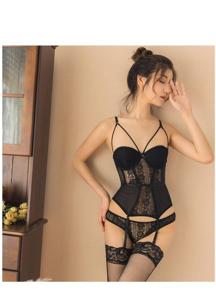 Breathable Elastic Lace Corset with Cup