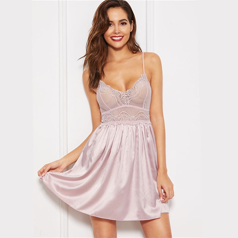 Soft Pink Solid Contrast Lace Sexy Cami Night Dress