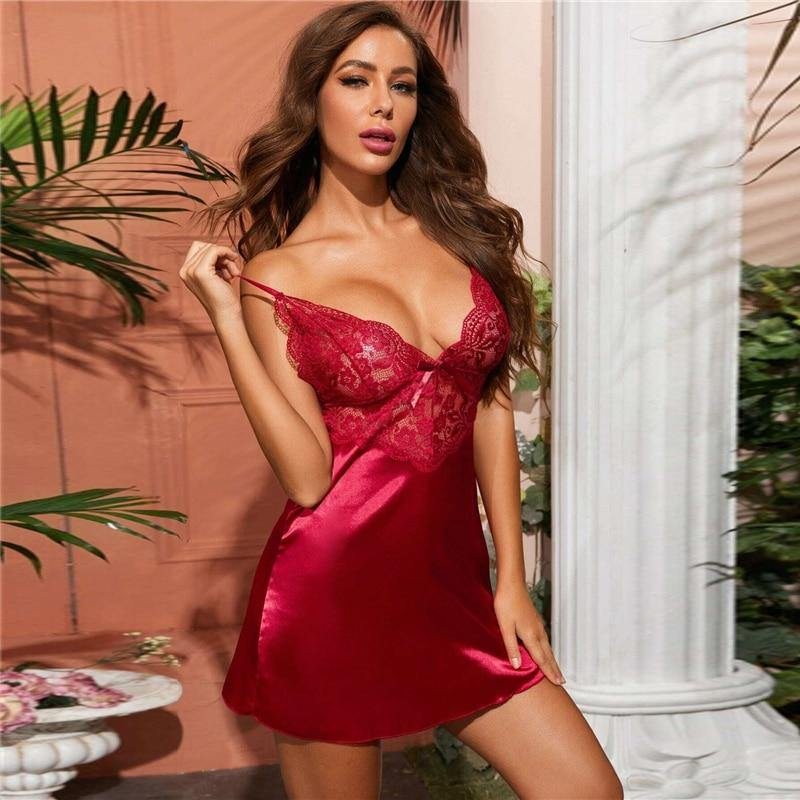 Burgundy Contrast Lace Satin Sleepwear With Thong - Nu String