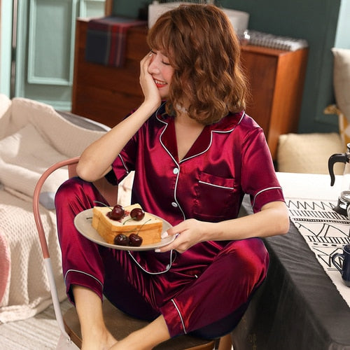 Short Sleeve Silk Pajamas Set
