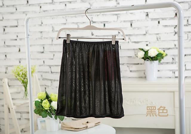 Casual Pure Silk Mini Skirts Slips - Nu String