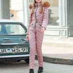 Winter Thick Long Jumpsuit Women Overalls Oversize Padded Clothes Fashion Pure Pink Parka Black Streetwear Casual Jumpsuits 2019