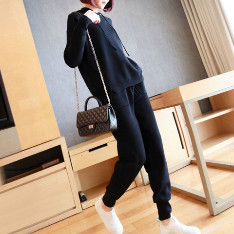 M-XXL Plus Size Solid High Quality Knitted Sport 2 Piece Set for Ladies Knitting Hoodies and Sweater Pants Black Autumn Suit Set