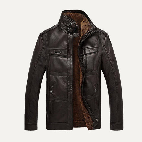 NEW Fashion Men Winter Tops Long Sleeve Faux Leather Jacket  Coat  fleeceLining Jacket Men