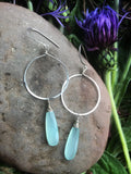 Large Chalcedony Linear Hoops Silver