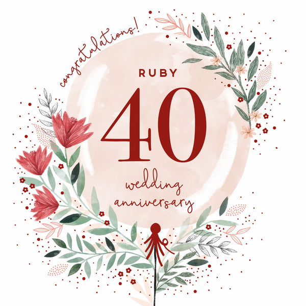 GREETING CARD RUBY ANNIVERSARY