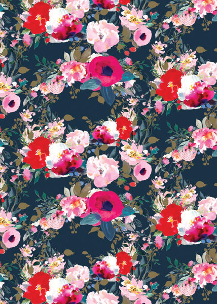ROLL WRAP 2M BLACK FLORAL