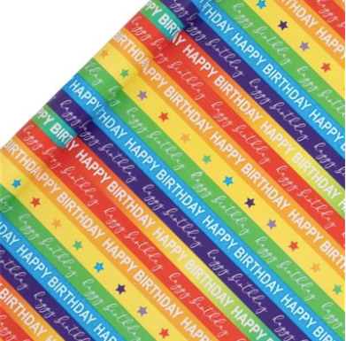 ROLL WRAP 2M BIRTHDAY BRIGHT RAINBOWS