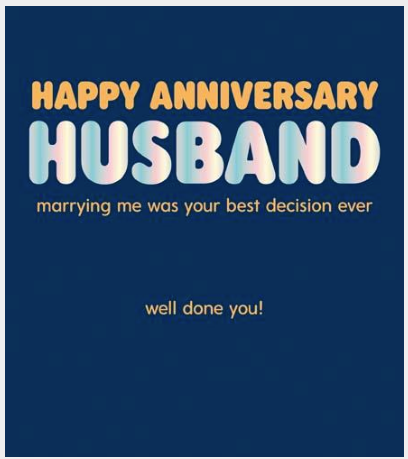 GREETING CARD ANNIVERSARY HUSBAND