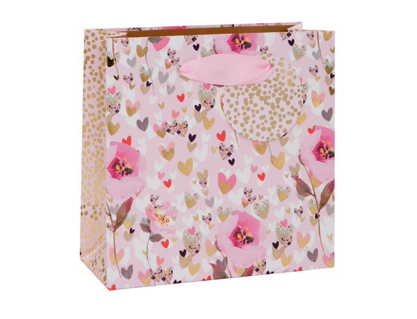 GIFT BAG SMALL FLORAL HEARTS