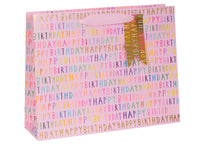 GIFT BAGS LANDSCAPE LARGE H BDAY PINK