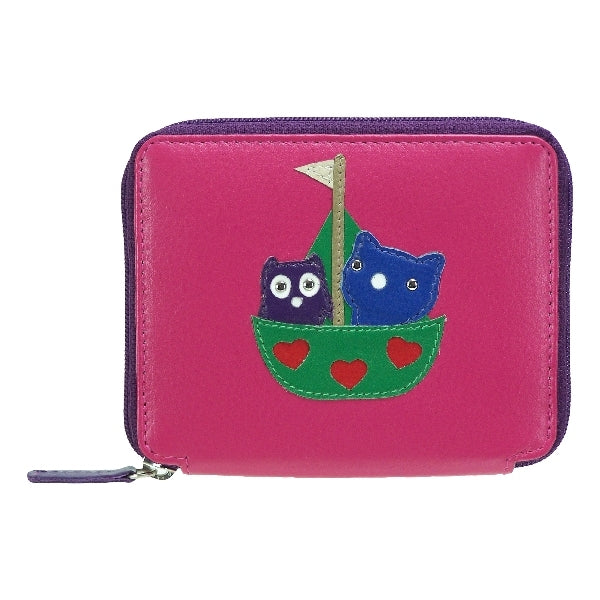 Leather Kyoto Owl & Cat Small Purse - Mala Leather at Destination Fashion