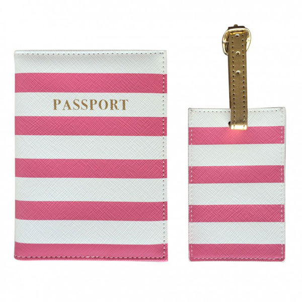 All Aboard! Stripy Pink Passport Cover & Luggage Tag Set - Bombay Duck at Destination Fashion