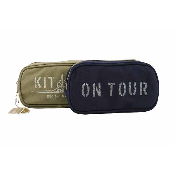 Kit Bag 'On Tour' Blue Canvas Wash Bag - Destination Fashion at Destination Fashion