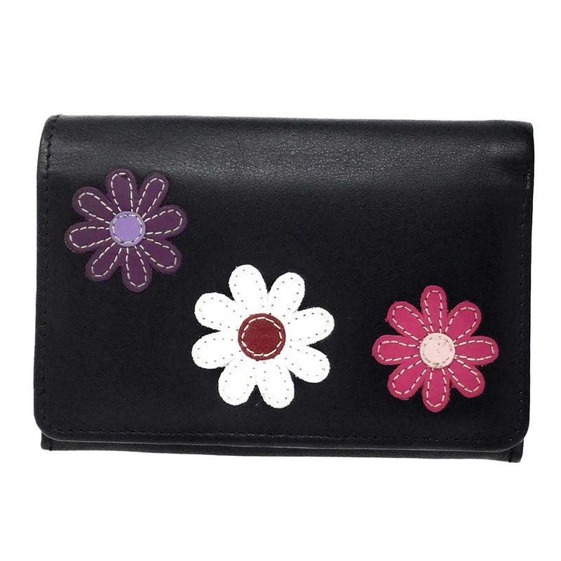 Leather Daisy Medium Flap Over Purse Wallet - Mala Leather at Destination Fashion