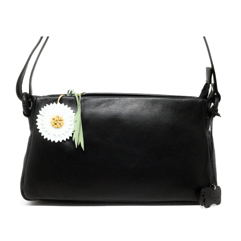 Leather Black Daisy Cross Body Handbag - Touch Leather at Destination Fashion