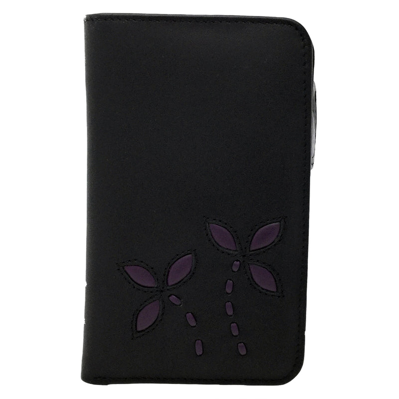 Leather Black/Purple Bifold Wallet with Zip Purse - Vanita at Destination Fashion