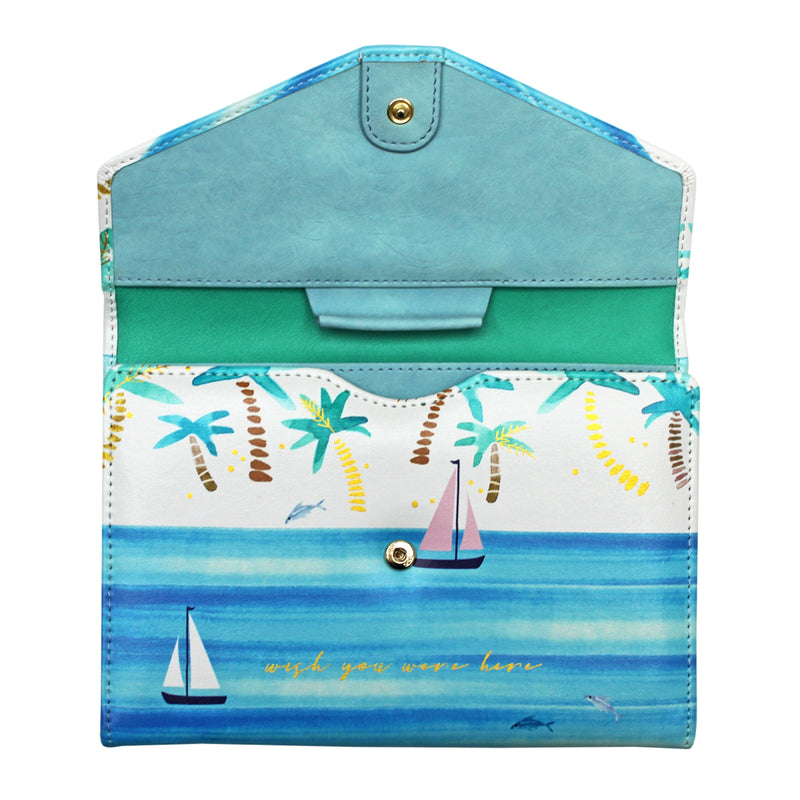By The Sea Palm Travel Wallet - House of Disaster at Destination Fashion