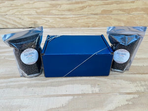 Two bags of Picture of Gourmet Organic Medium-Dark Roast Whole Bean Coffee Beans with Blue Gift Box