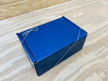 Load image into Gallery viewer, Angled Picture of Blue Gift Box for Gourmet Organic Medium-Dark Roast Whole Bean Coffee Beans