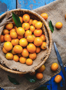 Bowl of Kumquats on Burlap Runner and Blue table