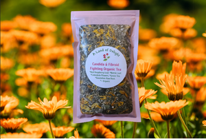Candida Fibroid Tea in field of flowers