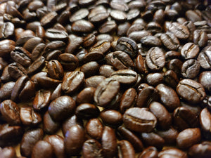 Close Up of Gourmet Organic Medium-Dark Roast Whole Bean Coffee Beans