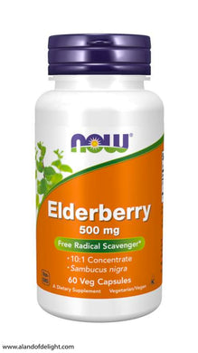 Picture of Orange Now Brand Vitamin Bottle of Elderberry 500 mg - 60 Veg Capsules