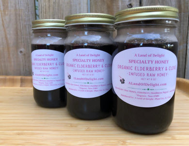 3 Jars of Specialty Gourmet Organic Elderberry & Clove Infused Raw Honey